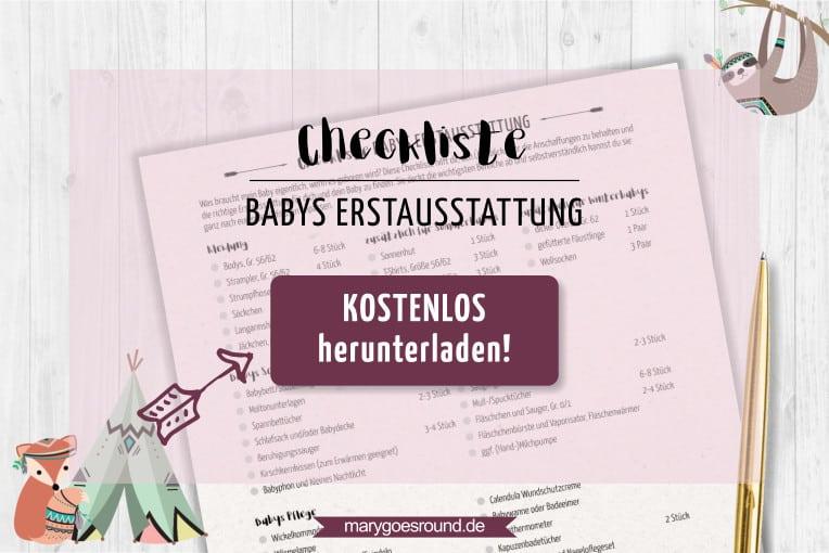 Checkliste: Babys Erstausstattung - kostenlos herunterladen! | marygoesround.de