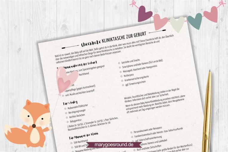 Checkliste: Kliniktasche - kostenlos herunterladen! | marygoesround.de