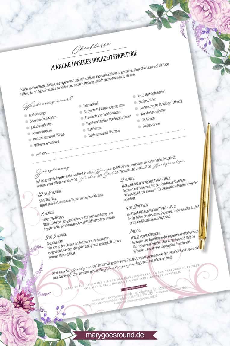 Checkliste zur Planung der Hochzeitspapeterie, kostenloser Download | marygoesround.de
