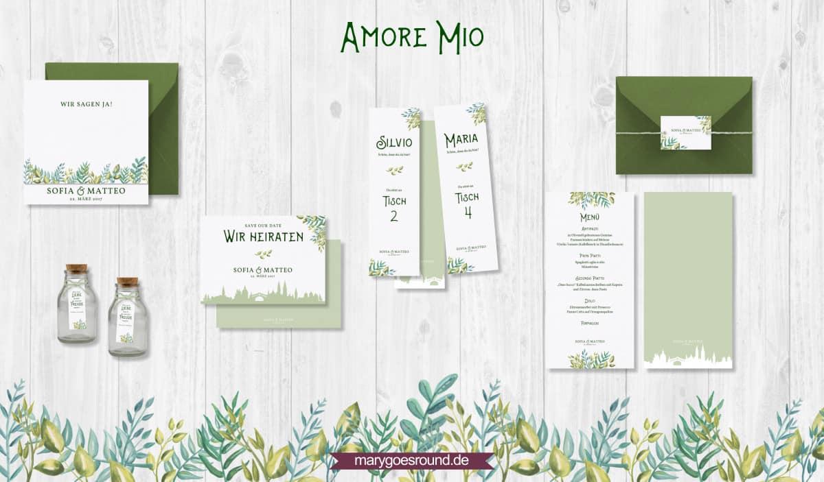 Designbeispiel (Hochzeitspapeterie, Hochzeitskarten) Amore Mio | marygoesround.de