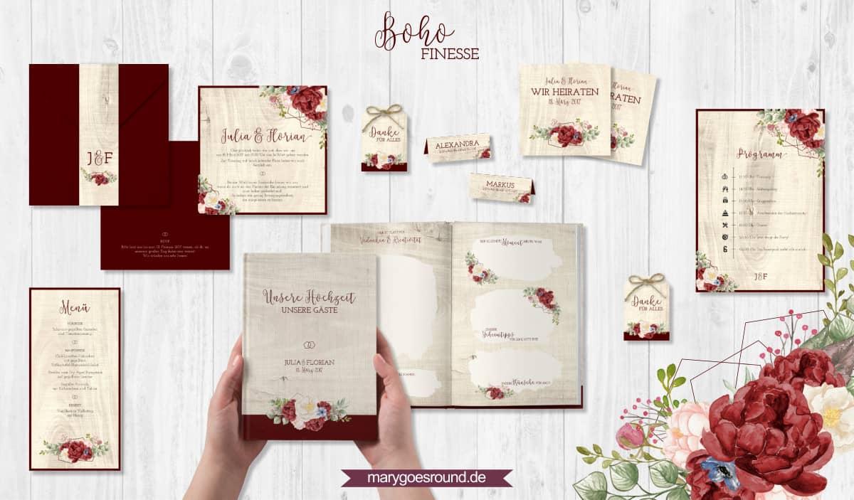 Designbeispiel (Hochzeitspapeterie, Hochzeitskarten) Boho Finesse   marygoesround.de