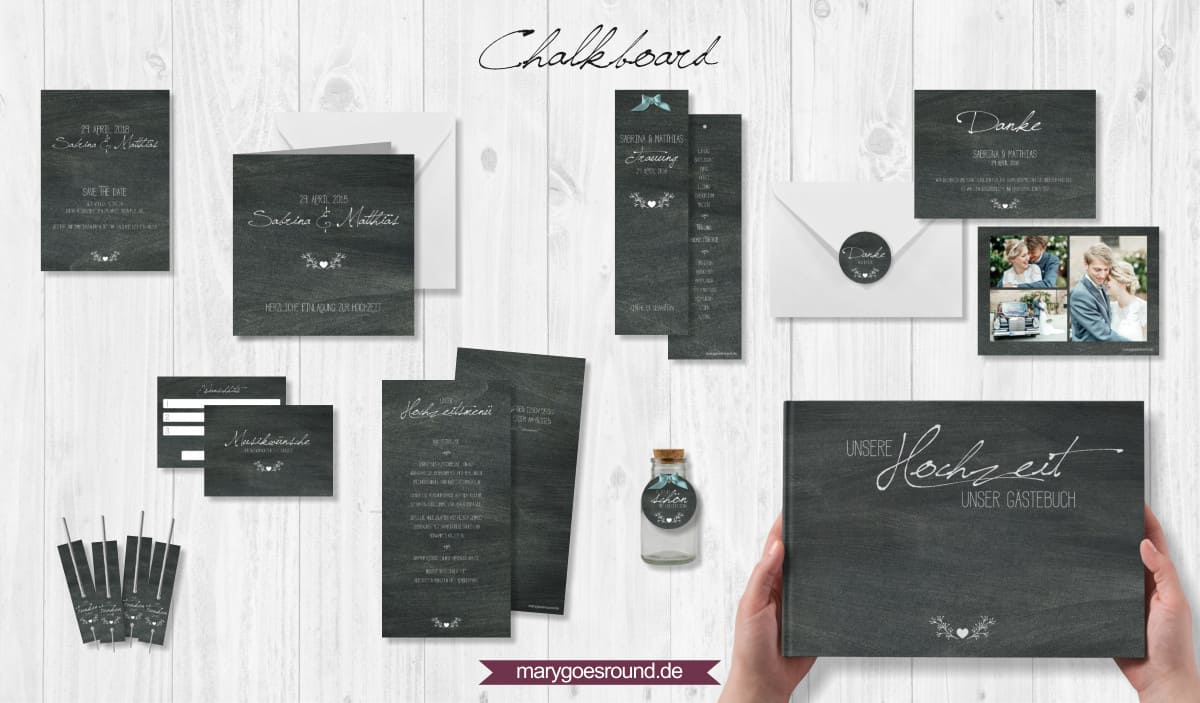 Designbeispiel (Hochzeitspapeterie, Hochzeitskarten) Chalkboard | marygoesround.de