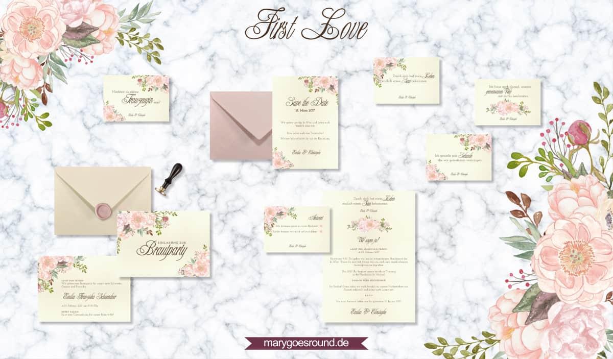 Designbeispiel (Hochzeitspapeterie, Hochzeitskarten) First Love   marygoesround.de