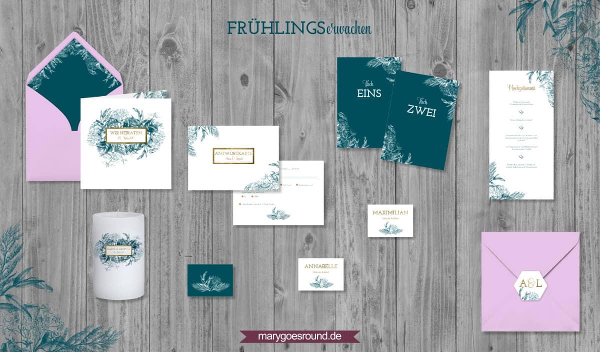 Designbeispiel (Hochzeitspapeterie, Hochzeitskarten) Frühlingserwachen   marygoesround.de