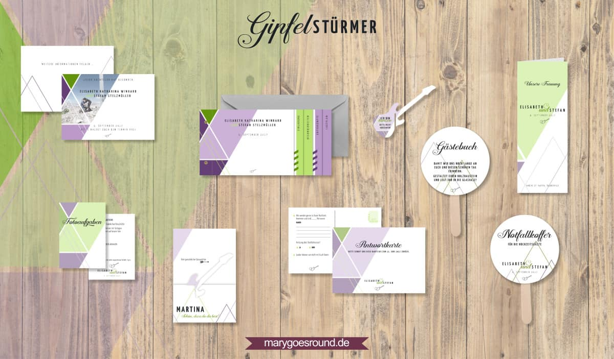 Designbeispiel (Hochzeitspapeterie, Hochzeitskarten) Gipfelstürmer | marygoesround.de