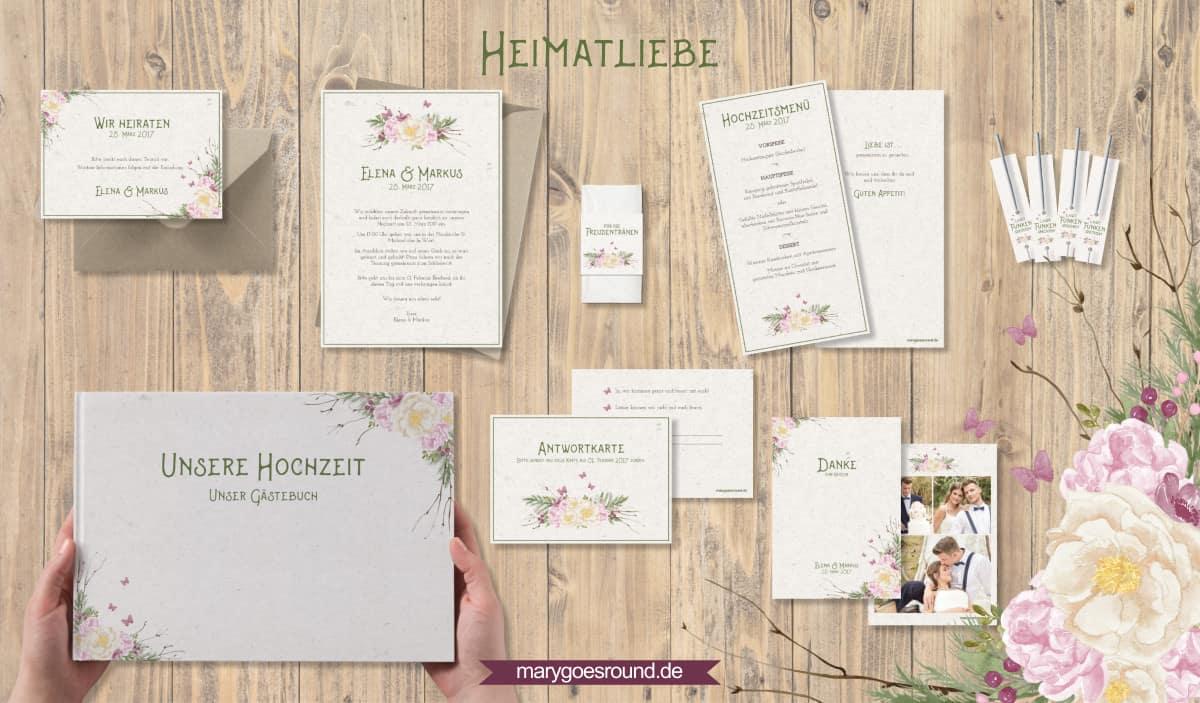 Designbeispiel (Hochzeitspapeterie, Hochzeitskarten) Heimatliebe | marygoesround.de