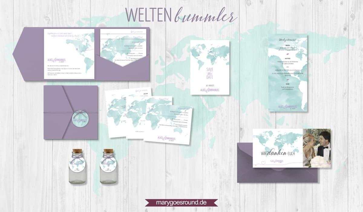 Designbeispiel (Hochzeitspapeterie, Hochzeitskarten) Weltenbummler   marygoesround.de