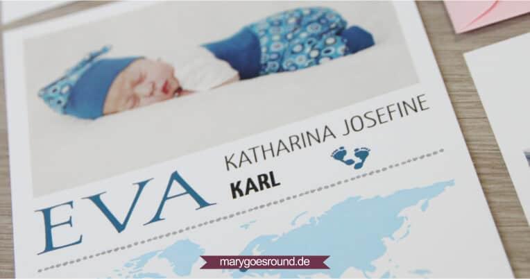 Geburtskarte mit Weltkarte, blau | marygoesround.de