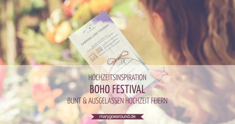 Hochzeitsinspiration: Boho Festival, Hochzeitseinladung mit Antwortkarte | marygoesround.de
