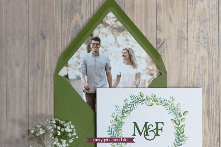 Hochzeitseinladungen mit Fotos, Hochzeitskarte mit Umschlaginlay/Kuvertliner | marygoesround.de