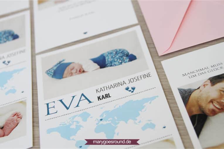 Geburtskarte mit Weltkarte, Mädchen | marygoesround.de