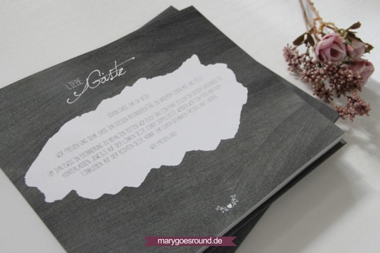 Gästebuch mit Fragen, Grußworte und Beschreibung | marygoesround.de