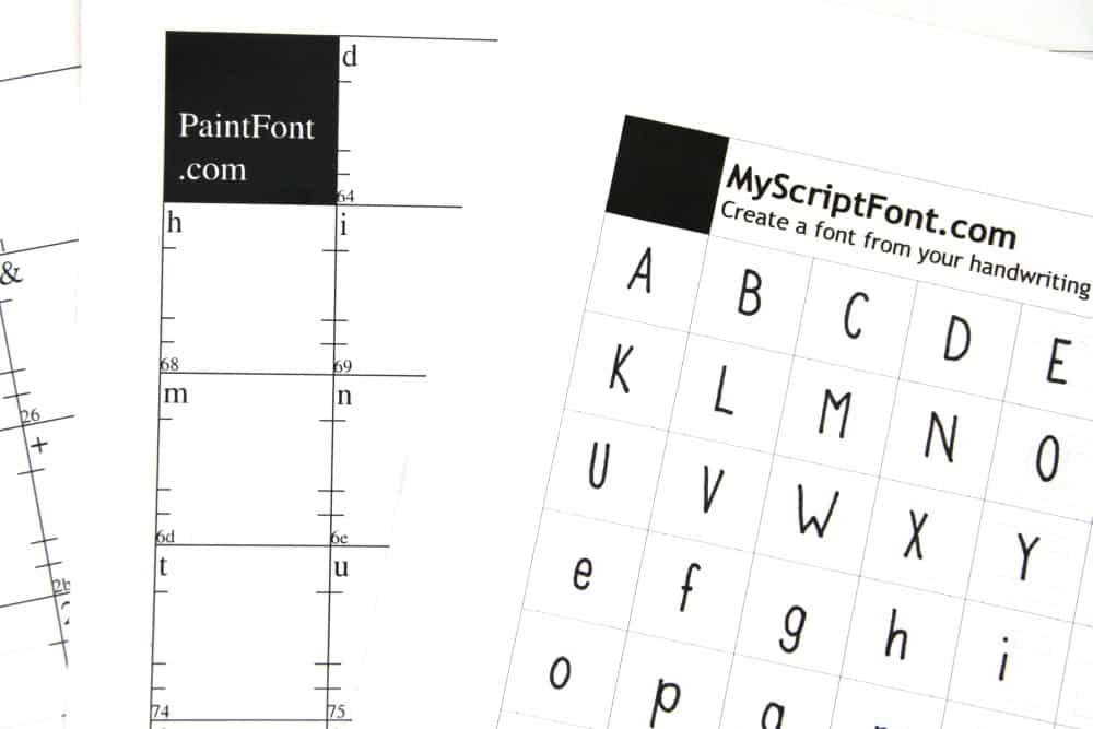 Templates MyScriptFont.com und PaintFont.com