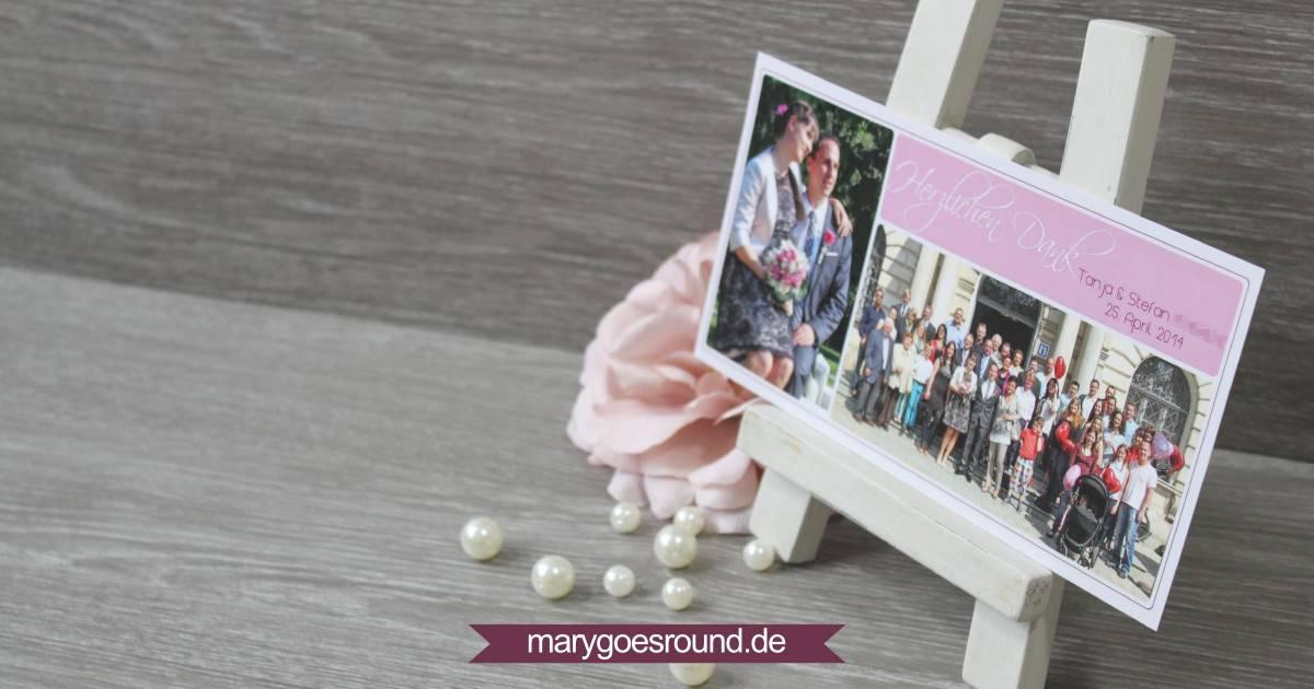 Dankeskarte Hochzeit, Wildrose | marygoesround.de