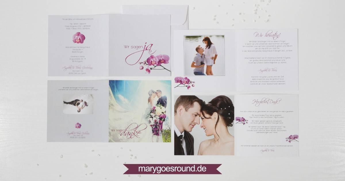 Hochzeitseinladung und Dankeskarte, Orchidee | marygoesround.de
