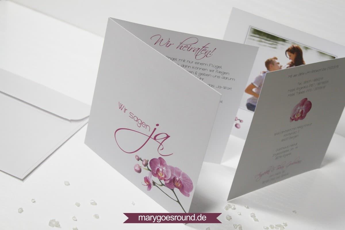 Hochzeitseinladung und dankeskarte orchidee marygoesround de