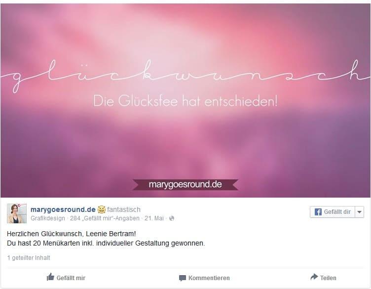 Gewinnspiel-Auslosung Mai 2015 | marygoesround.de