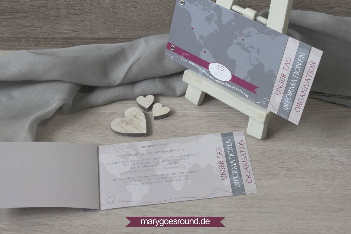 Hochzeitsset Weltkarte, Hochzeitseinladung Booklet   marygoesround.de