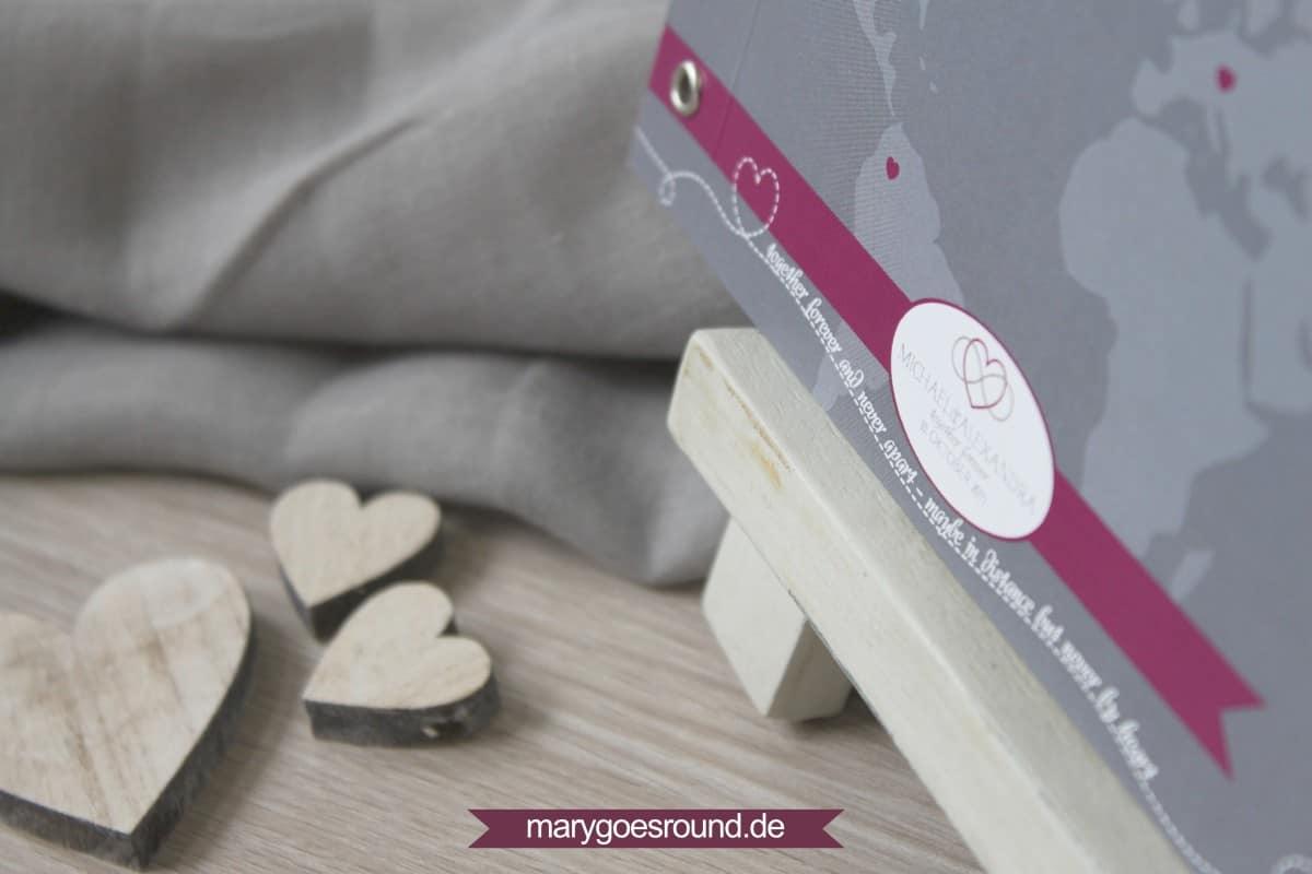 Hochzeitsset Weltkarte, Hochzeitseinladung Booklet mit Hochzeitslogo   marygoesround.de