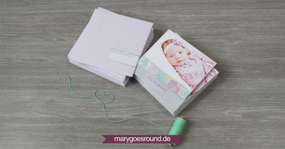 Geburtskarte Mädchen, flieder | marygoesround.de