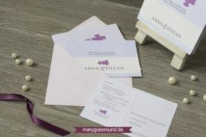Hochzeitseinladung mit Antwortkarte, Puzzle | marygoesround.de