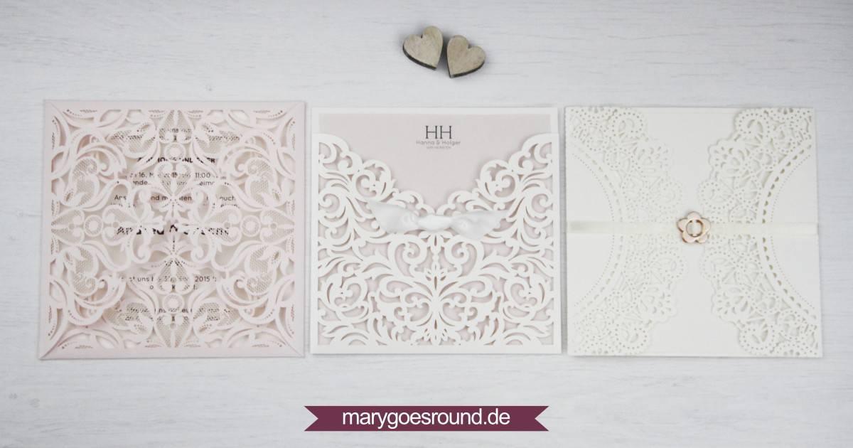 Hochzeitseinladungen mit Lasercut | marygoesround.de