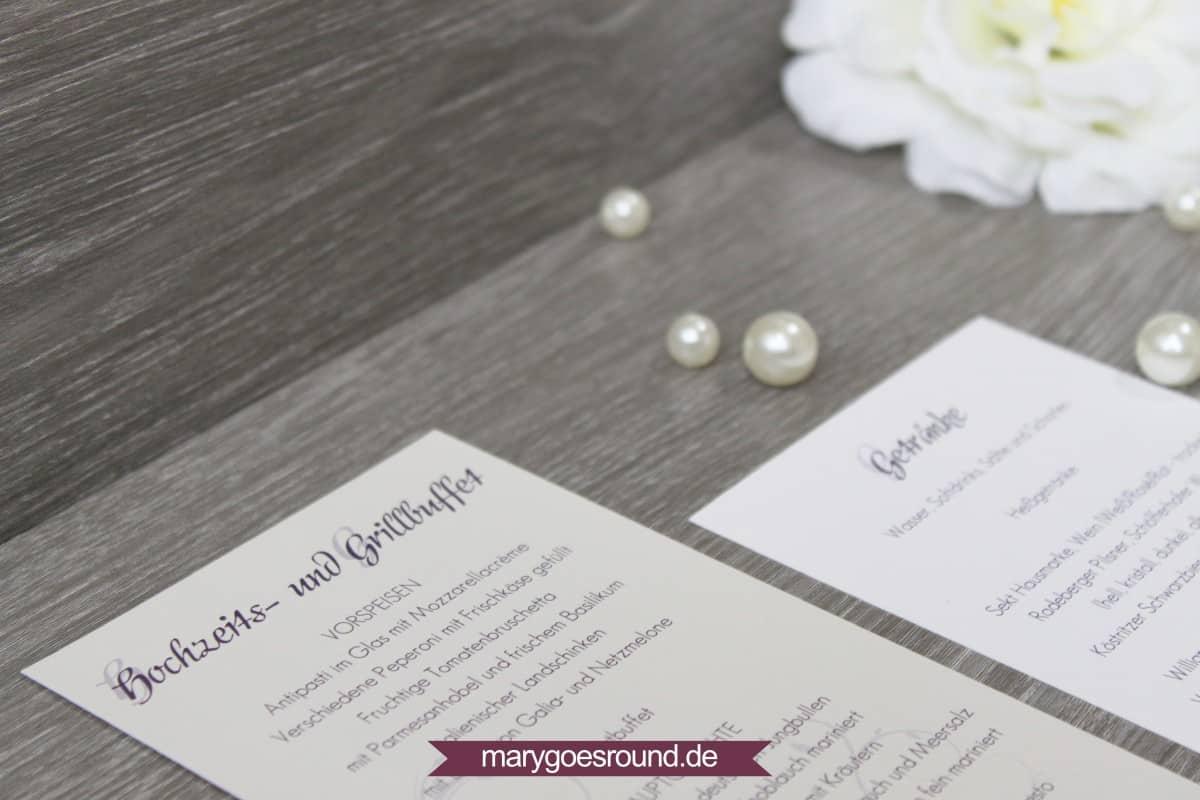 Menükarte Perlmutt-Lila | marygoesround.de