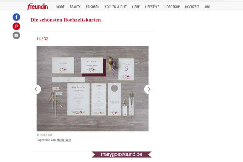 freundin.de: Hochzeitskarten-Galerie (10.02.2016)