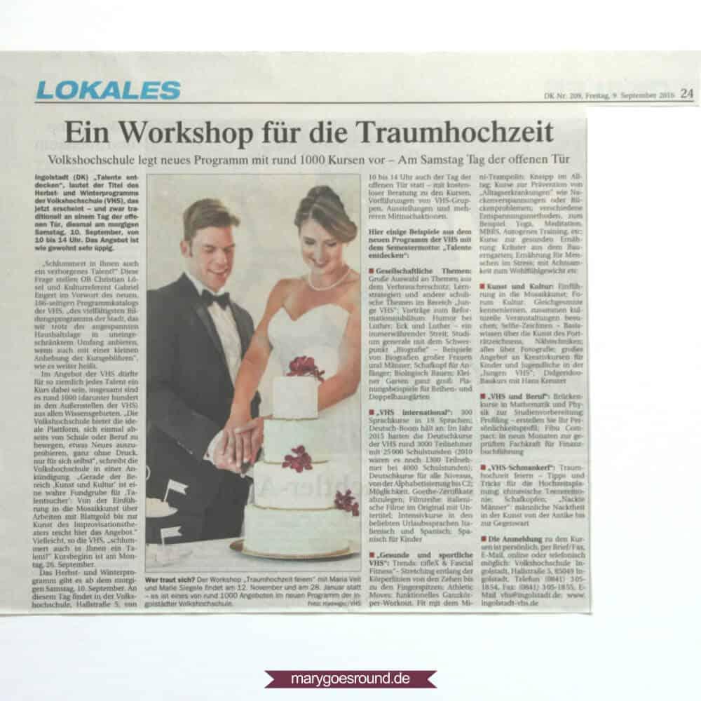 """Donaukurier (Ingolstadt), Bericht """"Hochzeitsworkshop"""" Seite 24 (09.09.2016)"""
