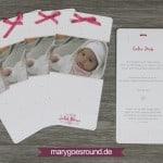 Taufkarte mit Schleife, Herz und Polka Dots in Rosa & Pink   marygoesround.de