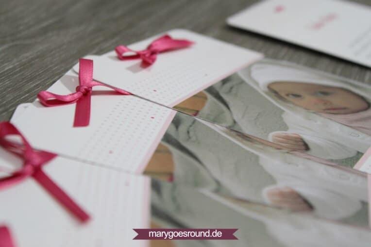 Taufkarte mit Schleife, Herz und Polka Dots in Rosa & Pink | marygoesround.de