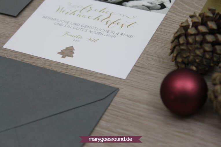 Weihnachtskarte gold+modern | marygoesround.de