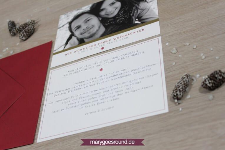 Weihnachtskarte rot-weiß-gold | marygoesround.de