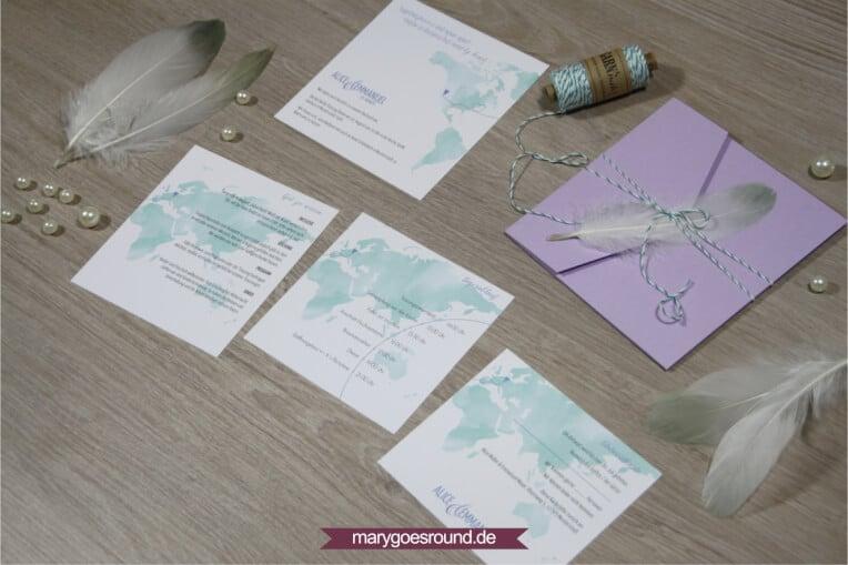 Pocketfoldkarte Hochzeitseinladung (Weltkarte) | marygoesround.de
