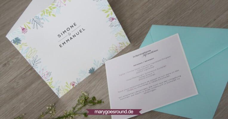 Hochzeitsset Wiesenblumen, zweisprachig (Einladungskarte) | marygoesround.de