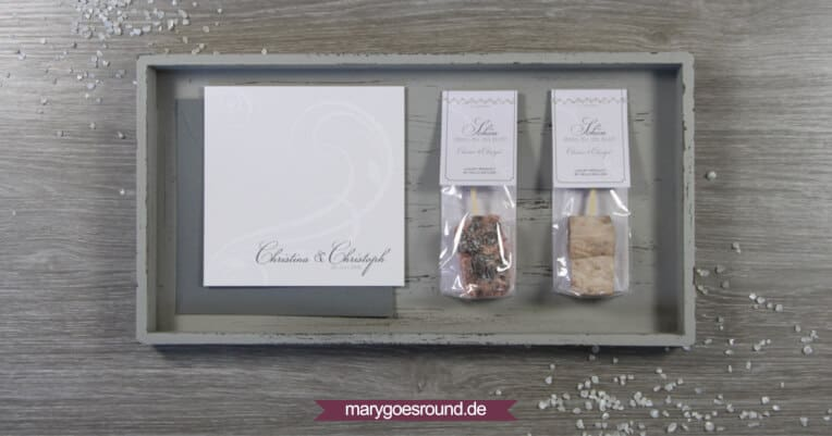 Hochzeitseinladung und Gastgeschenke im Set, schlicht, klassisch | marygoesround.de