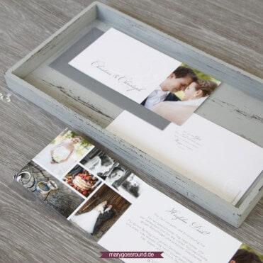 Hochzeitseinladung und Gastgeschenke im Set, schlicht, klassisch (Dankeskarte) | marygoesround.de