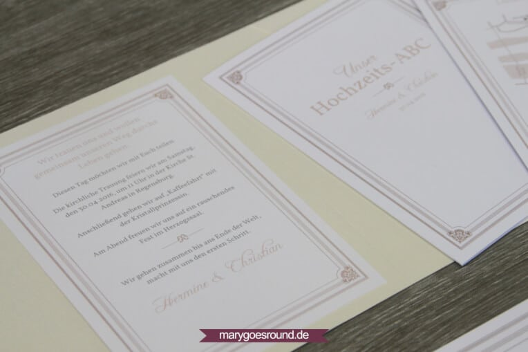 Hochzeitsset: Einladung, Kirchenheft, Menükarte, Geschenkanhänger (klassisch, schlicht) | marygoesround.de