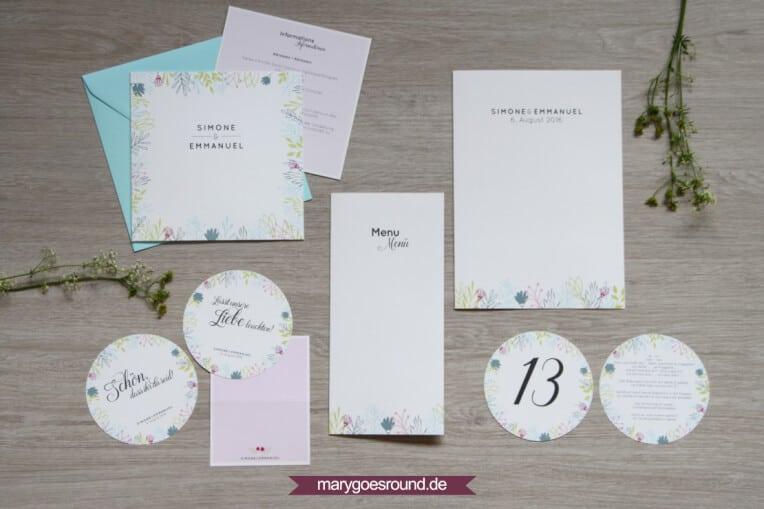 Hochzeitsset Wiesenblumen, zweisprachig | marygoesround.de
