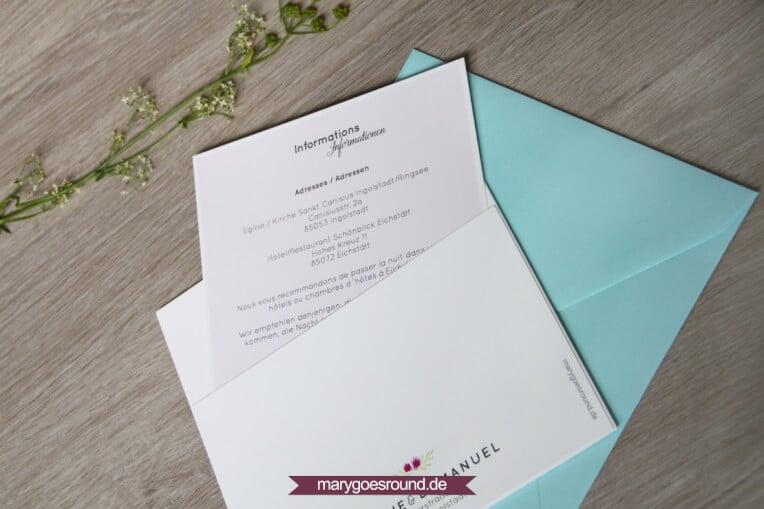 Hochzeitsset Wiesenblumen, zweisprachig (Einladungskarte mit Einleger) | marygoesround.de