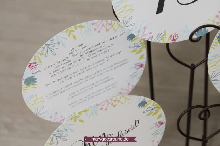 Hochzeitsset Wiesenblumen, zweisprachig (Wunderkerzen, Gastgeschenke, Tischnummern, Wörterbuch, Tischkarten) | marygoesround.de