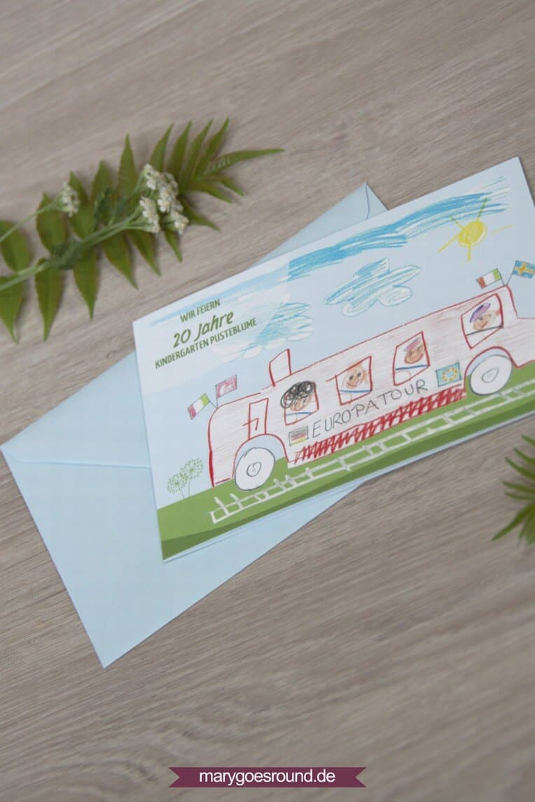 Einladung für das Kindergarten-Jubiläum (Kinderkunst) | marygoesround.de