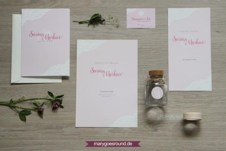 Hochzeitsset mit weißer Spitze, rosa | marygoesround.de