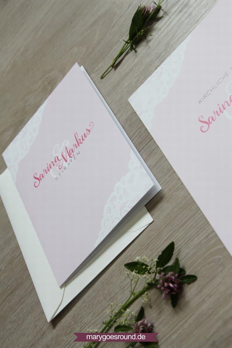Hochzeitsset mit weißer Spitze, rosa (Hochzeitseinladung) | marygoesround.de
