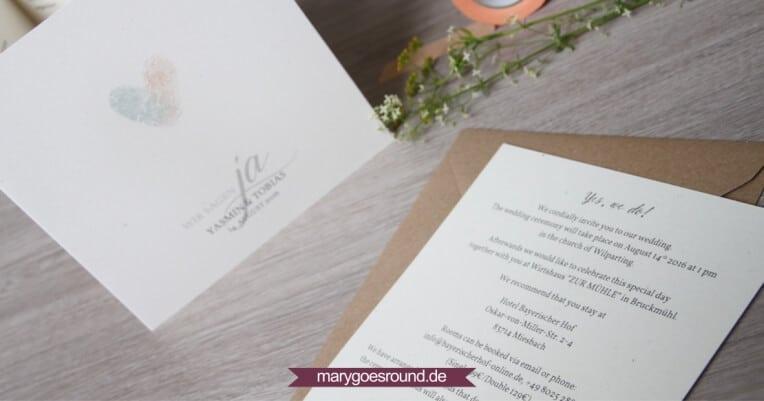 Hochzeitsset: Fingerabdrücke, Birkenholzpapier, Kraftpapier (Einladungskarte) | marygoesround.de