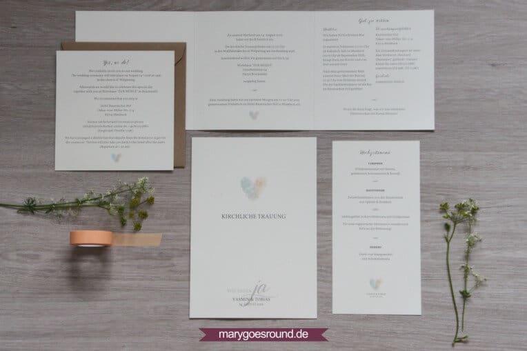 Hochzeitsset: Fingerabdrücke, Birkenholzpapier, Kraftpapier | marygoesround.de