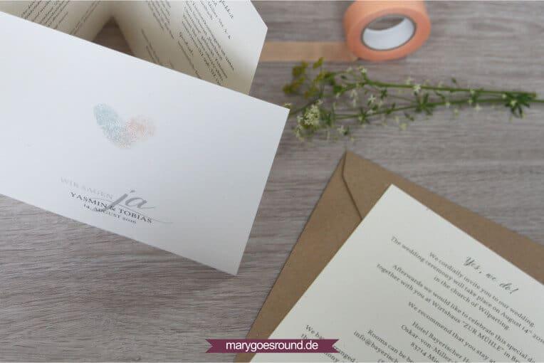 Hochzeitseinladung zweisprachig, Tipps für mehrsprachige Hochzeitspapeterie - Kurzinfo in Zweitsprache | marygoesround.de