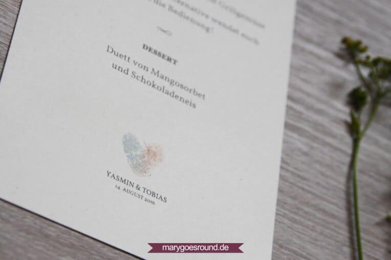 Hochzeitsset: Fingerabdrücke, Birkenholzpapier, Kraftpapier (Menükarte) | marygoesround.de