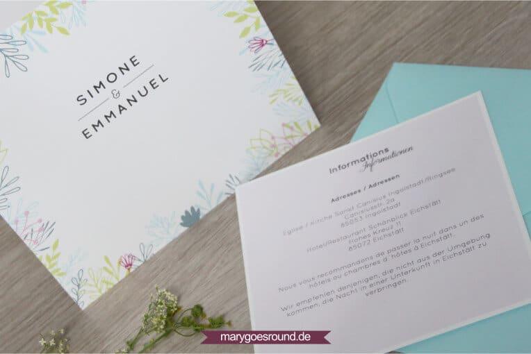 Hochzeitseinladung zweisprachig | marygoesround.de