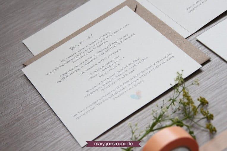 Hochzeitsset: Fingerabdrücke, Birkenholzpapier, Kraftpapier (Einladungskarte, Einleger englisch) | marygoesround.de